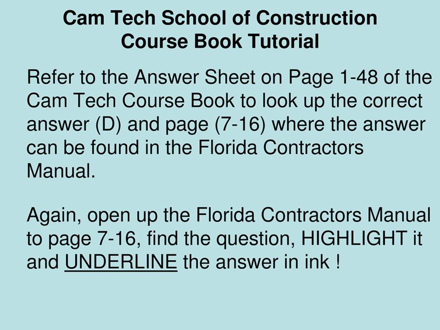 Florida Contractors Manual 2013